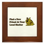 Find a New Friend - Brown Dog Framed Tile
