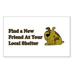 Find a New Friend - Brown Dog Rectangle Sticker 1