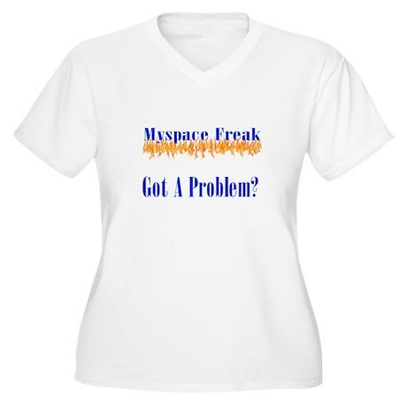 MySpace Freak Women's Plus Size V-Neck T-Shirt