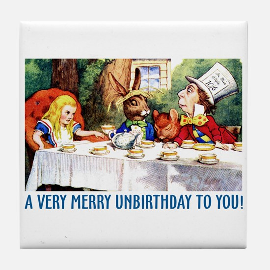 A Very Merry Unbirthday! Tile Coaster