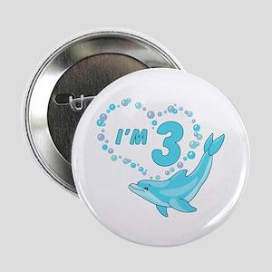 "Dolphin Heart 3rd Birthday 2.25"" Button"