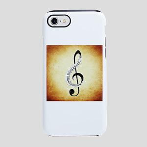 Piano Key Treble Clef on Tan iPhone 8/7 Tough Case