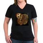 Common Wood Nymph Women's V-Neck Dark T-Shirt