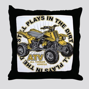 Plays in the Dirt ATV Throw Pillow