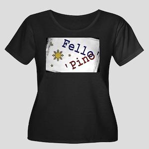 Fello' Pino' Women's Plus Size Scoop Neck Dark T-S