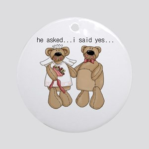 Bride and Groom Bear Ornament (Round)