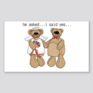 Bride and Groom Bear Rectangle Sticker