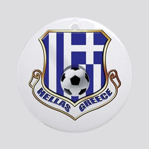 Greece Soccer Shield Round Ornament