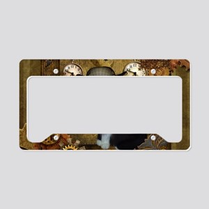 Funny cat with steampunk hat License Plate Holder