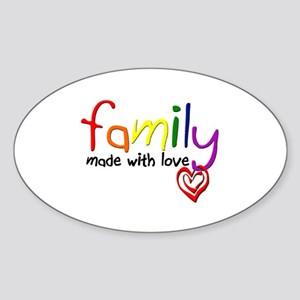 Gay Family Love Oval Sticker