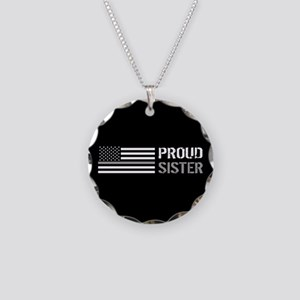 U.S. Flag Grey Line: Proud S Necklace Circle Charm