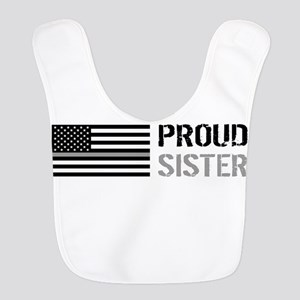 U.S. Flag Grey Line: Proud Sist Polyester Baby Bib