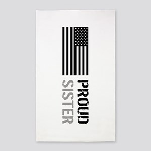 U.S. Flag Grey Line: Proud Sister (White) Area Rug