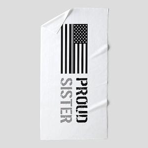 U.S. Flag Grey Line: Proud Sister (Whi Beach Towel