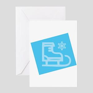 Hockey Skate - Snowflake Greeting Cards