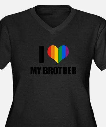 I love my gay brother Women's Plus Size V-Neck Dar