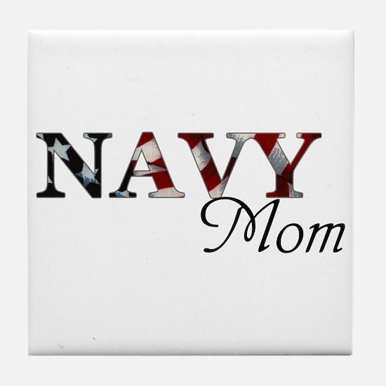 Navy Mom Tile Coaster