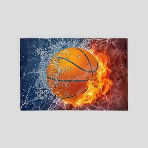 Flaming Basketball Ball Splash 4' x 6' Rug