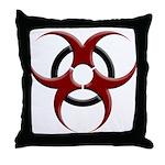 3D Biohazard Symbol Throw Pillow