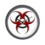 3D Biohazard Symbol Wall Clock