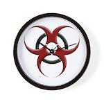 3D Biohazard Symbol Wall Clock