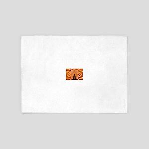 Buddha Against Abstract Orange 5'x7'Area Rug