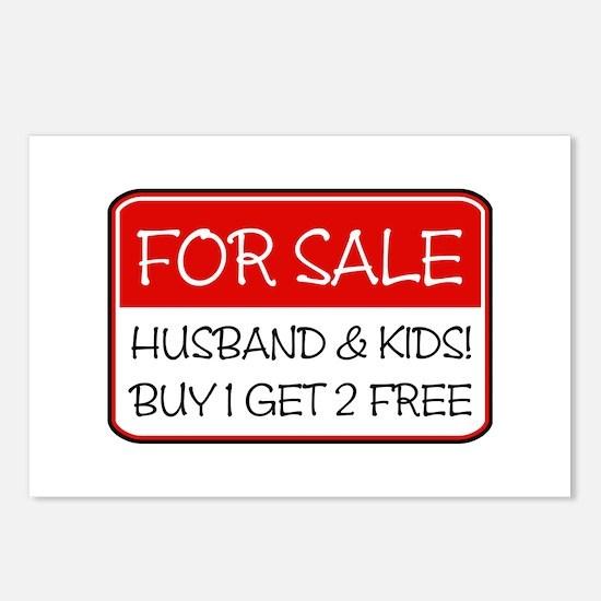 4SALE HUSB/KIDS (red) Postcards (Package of 8)