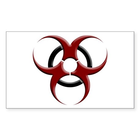 3D Biohazard Symbol Sticker (Rectangle)