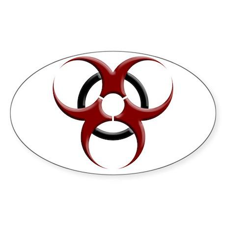3D Biohazard Symbol Sticker (Oval)