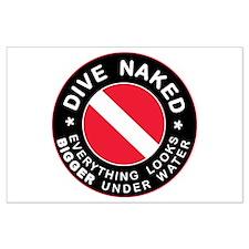 Dive Naked Bigger Under Water Large Poster