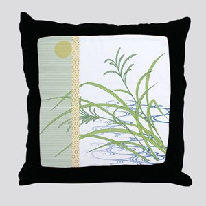 screen w/ grass and stream Throw Pillow