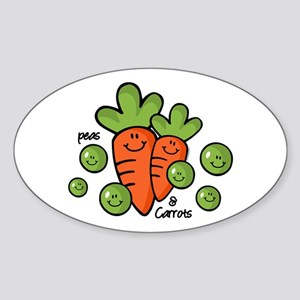 Peas And Carrots Oval Sticker