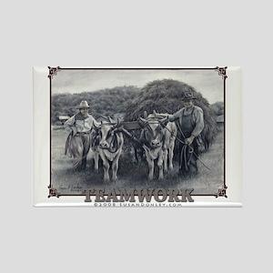 Teamwork - Oxen & Humans Rectangle Magnet