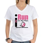 I Run For Breast Cancer Women's V-Neck T-Shirt