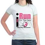 I Run For Breast Cancer Jr. Ringer T-Shirt