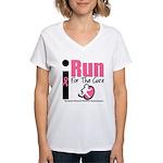 I Run For Breast Cancer Women's V-Neck T-Shirt