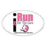 I Run For Breast Cancer Oval Sticker (10 pk)