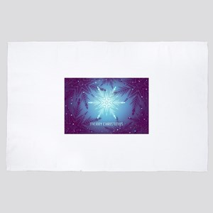 Blue Merry Christmas Snowflake 4' x 6' Rug