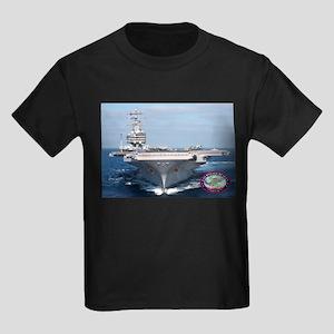 USS Ronald Reagan CVN-76 Kids Dark T-Shirt