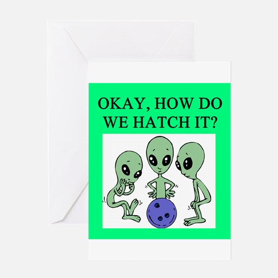 alien bowling joke Greeting Card