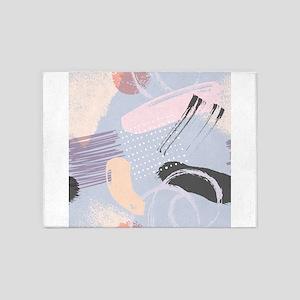 Colorful brushstrokes artsy composi 5'x7'Area Rug