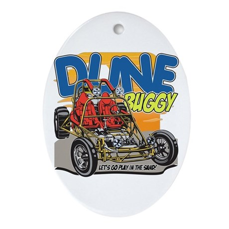 Dune Buggy Let's Go Play in the Sand Oval Ornament