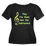 Play The Music Women's Plus Size Scoop Neck Dark T