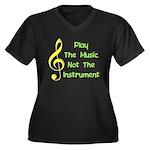 Play The Music Women's Plus Size V-Neck Dark T-Shi