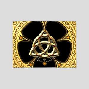 Decorative celtic knot, golden design 5'x7'Area Ru