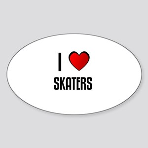 I LOVE SKATERS Oval Sticker