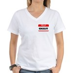 HELLO, MY NAME IS GIGGLES Women's V-Neck T-Shirt