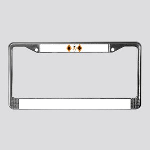 Orange Argyle Pattern License Plate Frame