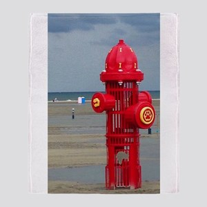Doggie Beach Hydrant Throw Blanket