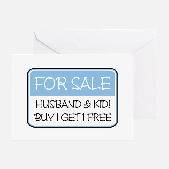 4SALE HUSB/KID (blue) Greeting Card